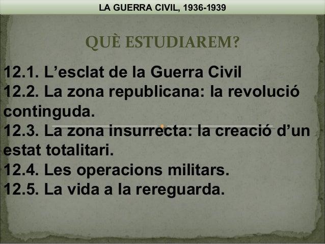 LA GUERRA CIVIL, 1936-1939  QUÈ ESTUDIAREM? 12.1. L'esclat de la Guerra Civil 12.2. La zona republicana: la revolució cont...