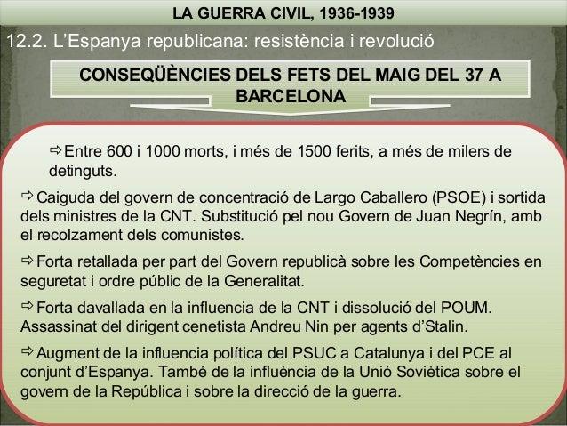 LA GUERRA CIVIL, 1936-1939  12.2. L'Espanya republicana: resistència i revolució CONSEQÜÈNCIES DELS FETS DEL MAIG DEL 37 A...