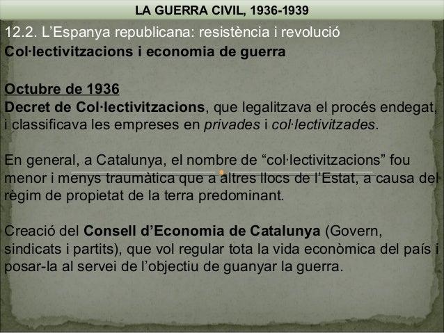 LA GUERRA CIVIL, 1936-1939  12.2. L'Espanya republicana: resistència i revolució Col·lectivitzacions i economia de guerra ...