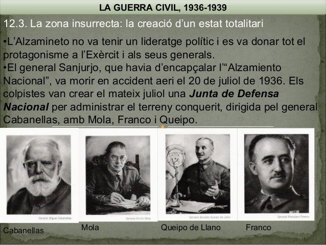 LA GUERRA CIVIL, 1936-1939  12.3. La zona insurrecta: la creació d'un estat totalitari •L'Alzamineto no va tenir un lidera...