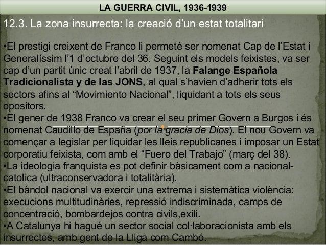 LA GUERRA CIVIL, 1936-1939  12.3. La zona insurrecta: la creació d'un estat totalitari •El prestigi creixent de Franco li ...