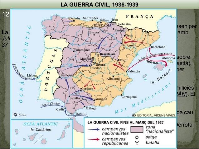 LA GUERRA CIVIL, 1936-1939  12.4. Les operacions militars La Batalla de Madrid Juliol del 36 – Març del 37  Agost de 1936 ...