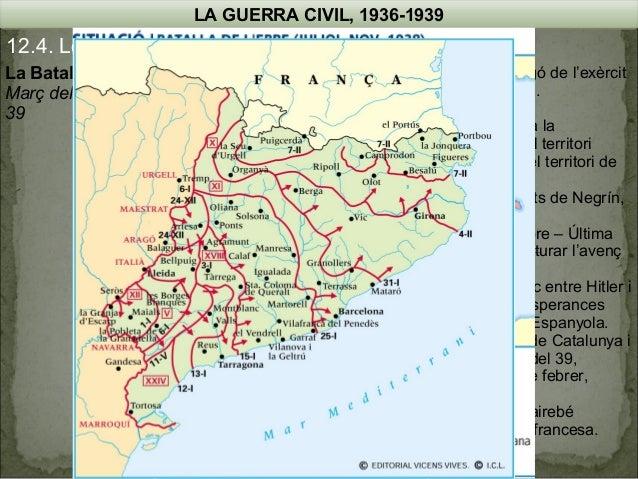 LA GUERRA CIVIL, 1936-1939  12.4. Les operacions militars La Batalla de Catalunya  Març del 38 – Inici de la campanya d'A...