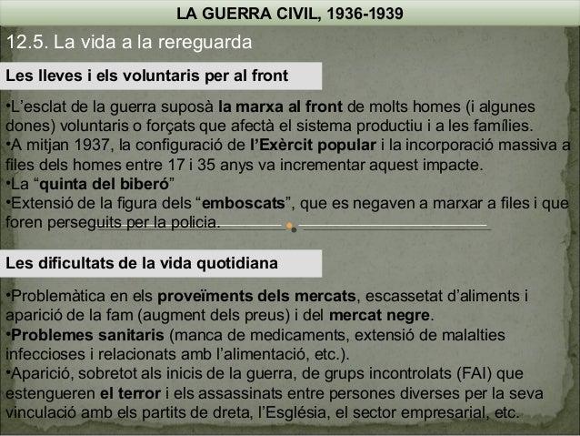 LA GUERRA CIVIL, 1936-1939  12.5. La vida a la rereguarda Les lleves i els voluntaris per al front •L'esclat de la guerra ...