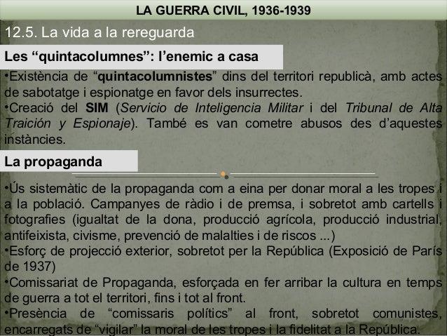 """LA GUERRA CIVIL, 1936-1939  12.5. La vida a la rereguarda Les """"quintacolumnes"""": l'enemic a casa •Existència de """"quintacolu..."""