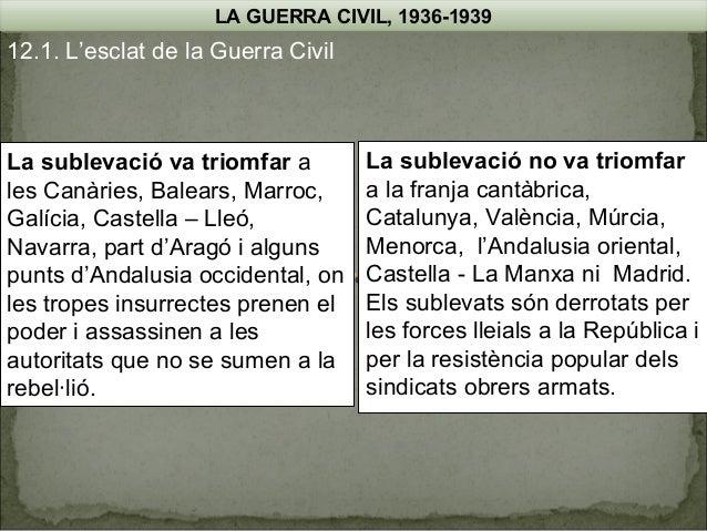 LA GUERRA CIVIL, 1936-1939  12.1. L'esclat de la Guerra Civil  La sublevació va triomfar a les Canàries, Balears, Marroc, ...