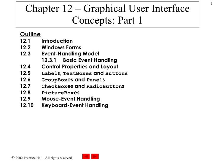 Chapter 12 – Graphical User Interface Concepts: Part 1 Outline 12.1 Introduction 12.2   Windows Forms 12.3   Event-Handlin...