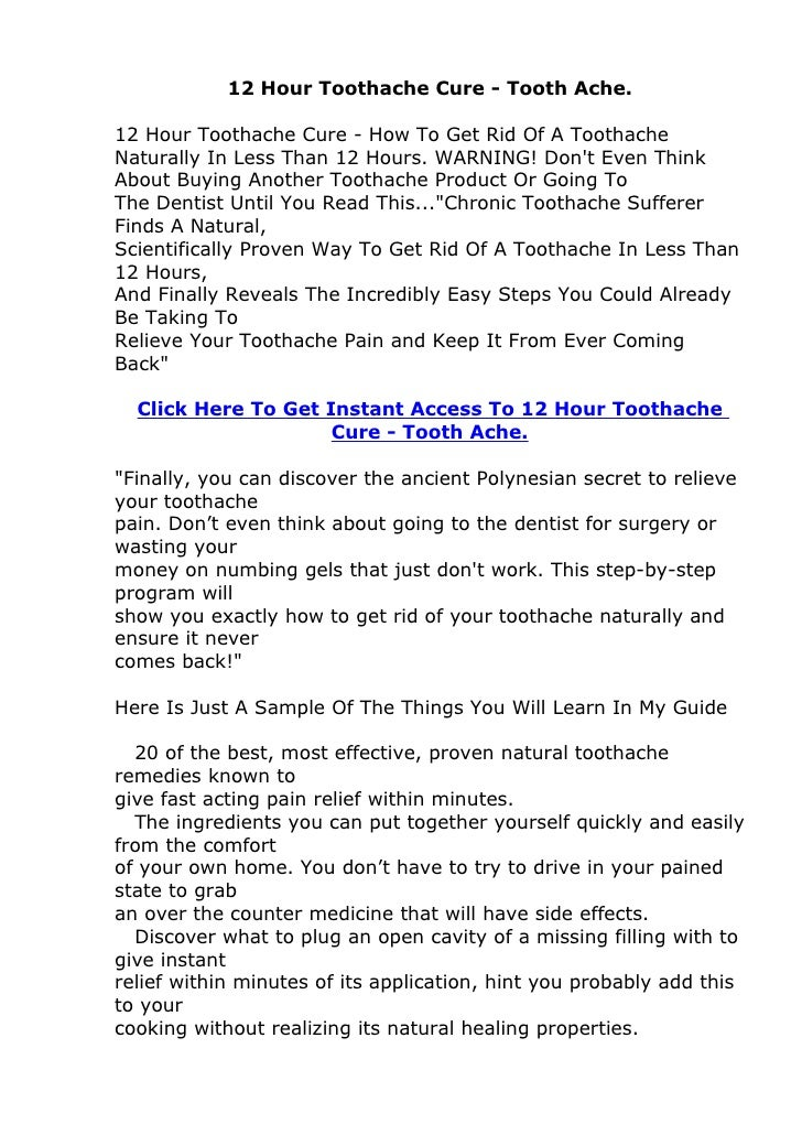 12 Hour Toothache Cure - Tooth Ache.12 Hour Toothache Cure - How To Get Rid Of A ToothacheNaturally In Less Than 12 Hours....