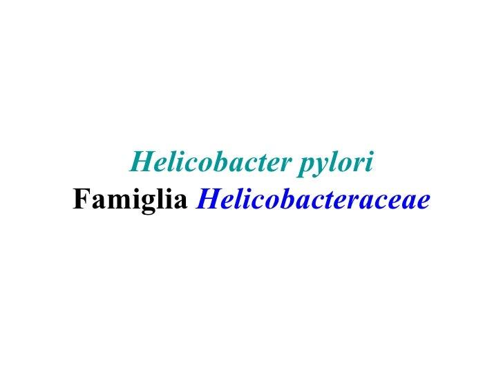 Helicobacter pyloriFamiglia Helicobacteraceae