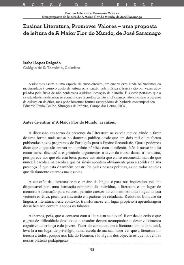 A  C  T  A  S  D  O  I  E  I  E  L  P  Ensinar Literatura, Promover Valores Uma proposta de leitura de A Maior Flor do Mun...