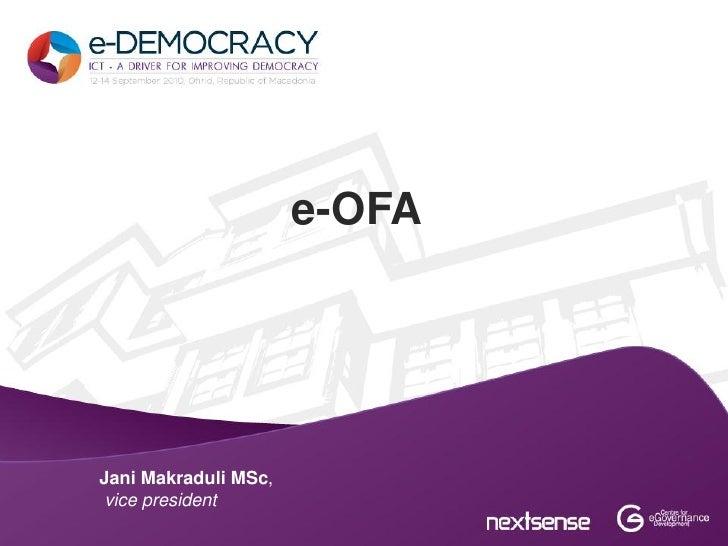e-OFAJani Makraduli MSc, vice president