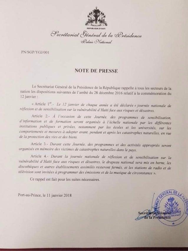Commémoration du 12 Janvier - Rappel du sécrétariat de la présidence
