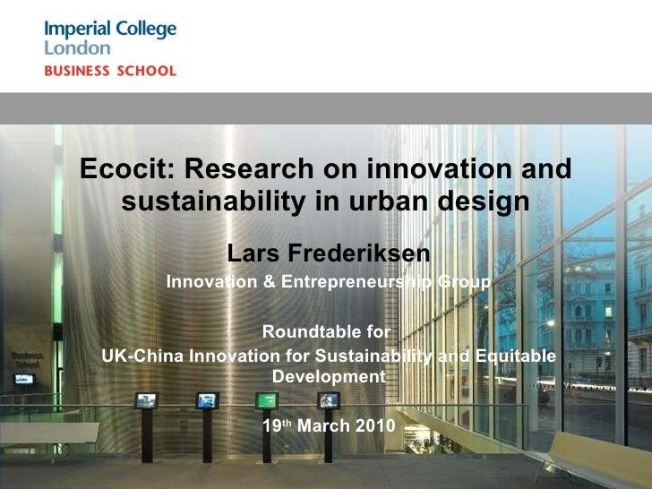 Lars Frederiksen Innovation & Entrepreneurship Group Roundtable for  UK-China Innovation for Sustainability and Equitable ...