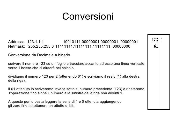 Conversioni Address:  123.1.1.1  10010111.00000001.00000001. 00000001 Netmask:  255.255.255.0 11111111.11111111.11111111. ...
