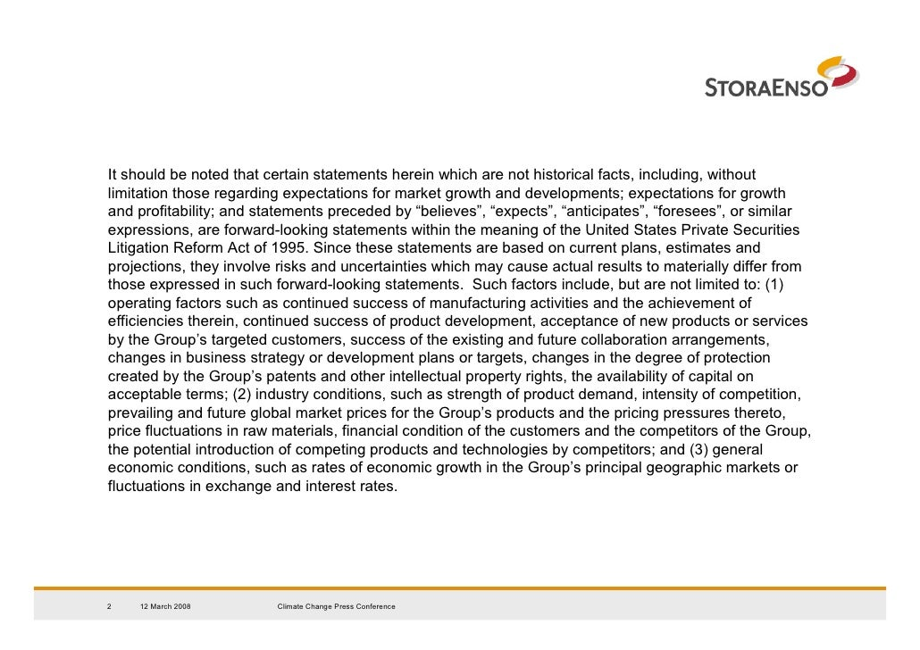 Stora Enso - Climate Change Presentation, 2008-03-12 Slide 2