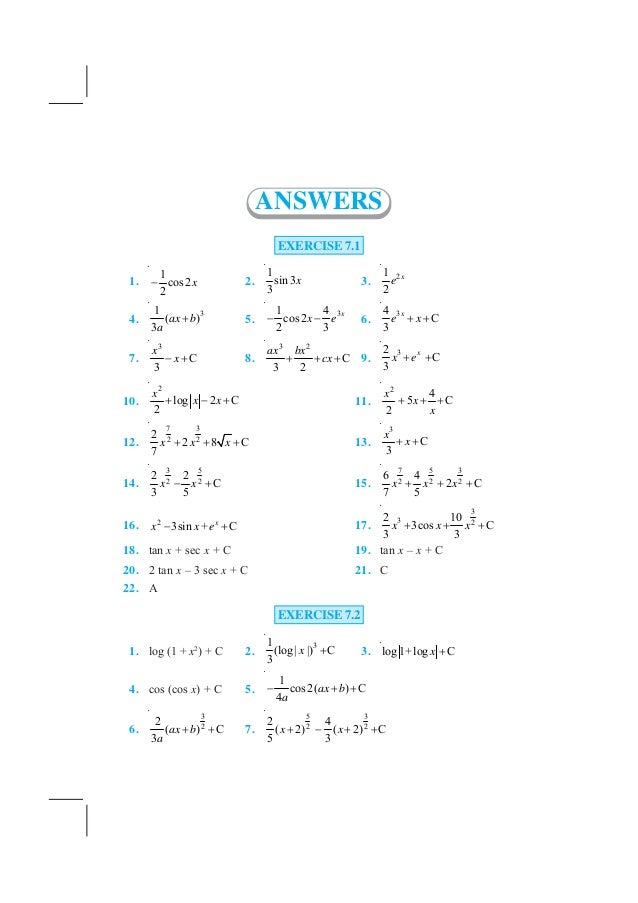 NCERT Books Class 12 Maths Answer Keys Part 2