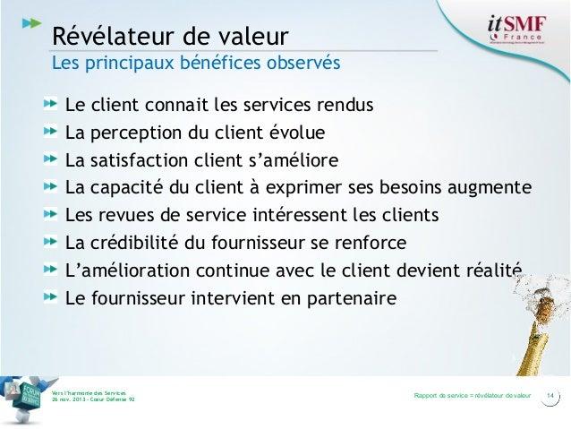 Révélateur de valeur Les principaux bénéfices observés Le client connait les services rendus La perception du client évolu...