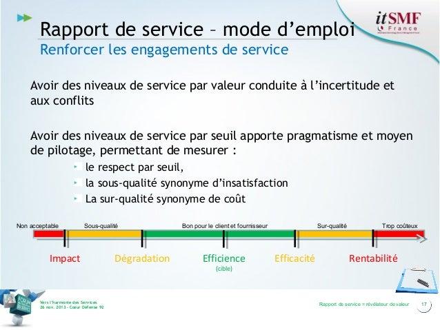 Rapport de service – mode d'emploi Renforcer les engagements de service Avoir des niveaux de service par valeur conduite à...