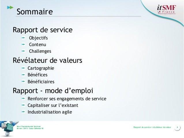 Sommaire Rapport de service Objectifs Contenu Challenges  Révélateur de valeurs Cartographie Bénéfices Bénéficiaires  Rapp...