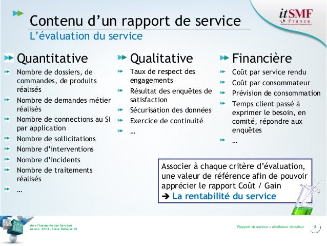 Contenu d'un rapport de service L'évaluation du service  Quantitative  Qualitative  Financière  Nombre de dossiers, de com...