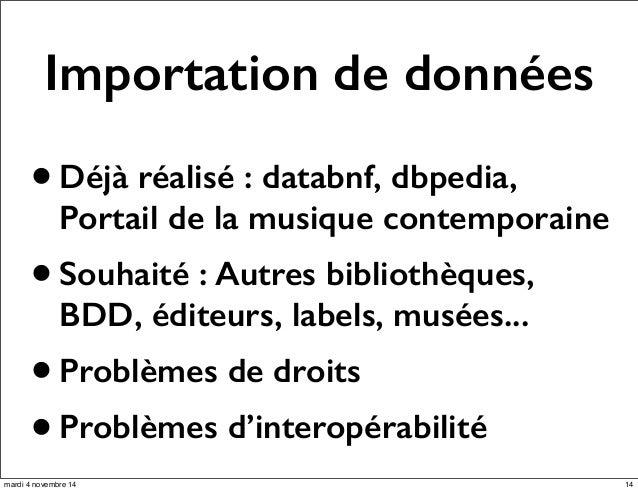 Importation de données  • Déjà réalisé : databnf, dbpedia,  Portail de la musique contemporaine  • Souhaité : Autres bibli...
