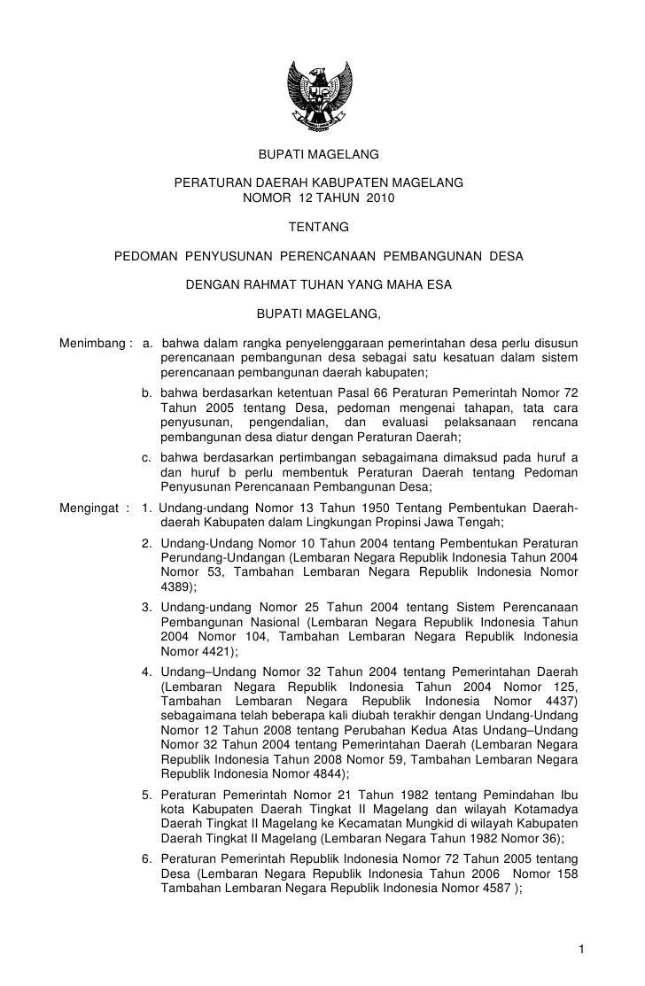 BUPATI MAGELANG                 PERATURAN DAERAH KABUPATEN MAGELANG                         NOMOR 12 TAHUN 2010           ...