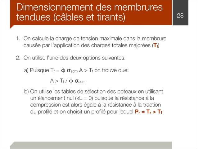 Dimensionnement des membrures  tendues (câbles et tirants) 28  1. On calcule la charge de tension maximale dans la membrur...