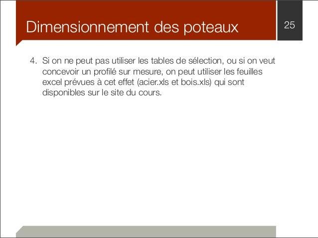 Dimensionnement des poteaux 25  4. Si on ne peut pas utiliser les tables de sélection, ou si on veut  concevoir un profilé...