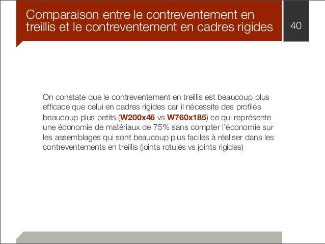 Comparaison entre le contreventement en  treillis et le contreventement en cadres rigides 40  On constate que le contreven...
