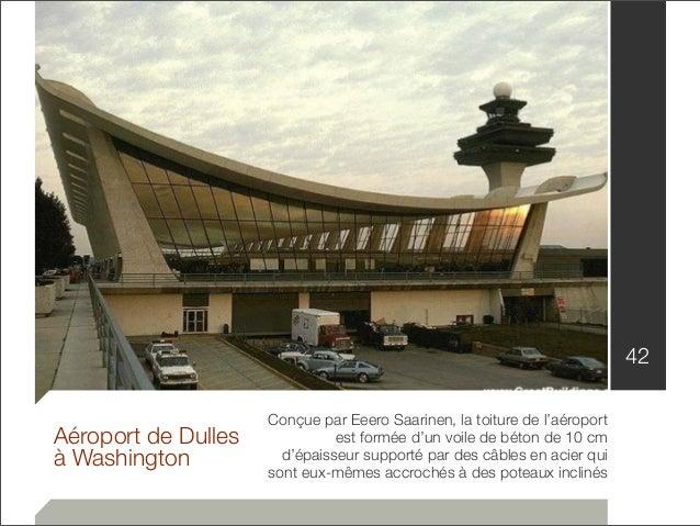 Aéroport de Dulles  à Washington  Conçue par Eeero Saarinen, la toiture de l'aéroport  est formée d'un voile de béton de 1...