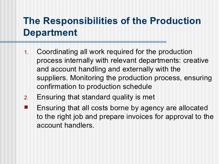 role of production department