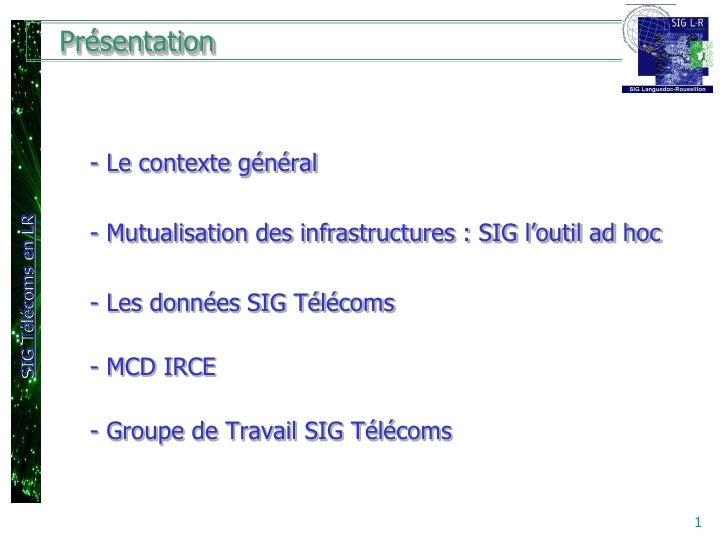 Présentation                       - Le contexte généralSIG Télécoms en LR                       - Mutualisation des infra...