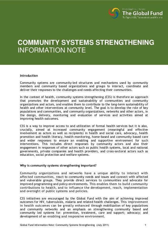 COMMUNITY SYSTEMS STRENGTHENINGINFORMATION NOTEIntroductionCommunity systems are community-led structures and mechanisms u...