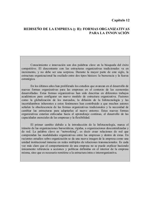 Capítulo 12 REDISEÑO DE LA EMPRESA (y II): FORMAS ORGANIZATIVAS                                   PARA LA INNOVACIÓN      ...