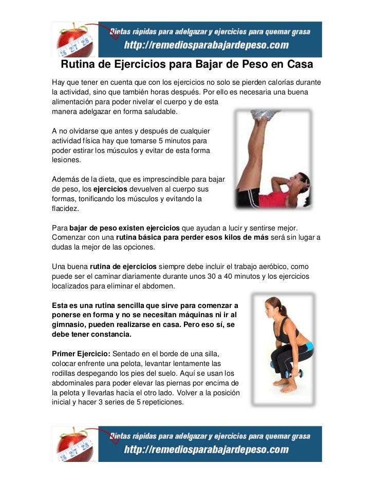 rutina de ejercicios para bajar de peso en casa