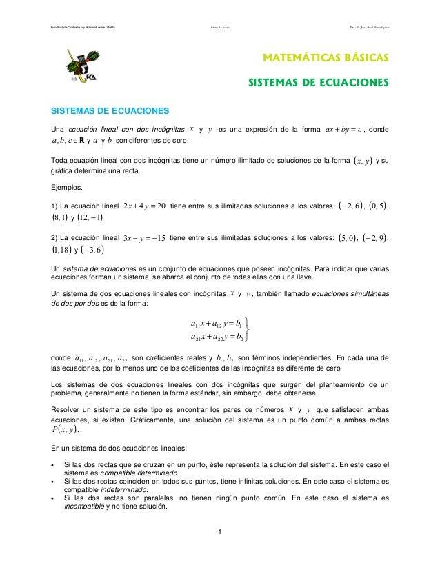 Facultad de Contaduría y Administración. UNAM          Sistemas de ecuaciones                                     Autor: D...