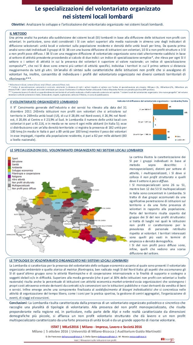 Le specializzazioni del volontariato organizzato nei sistemi locali lombardi D. De Francesco defrancesco@istat.it; S. Dell...