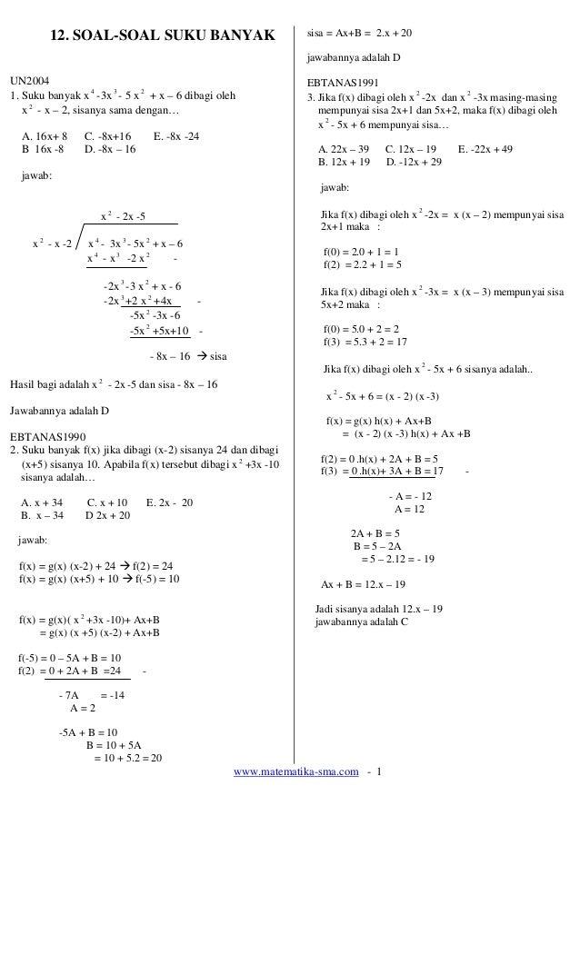 12. SOAL-SOAL SUKU BANYAK                                  sisa = Ax+B = 2.x + 20                                         ...