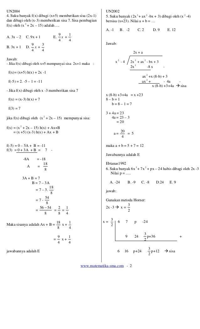 UN2004                                                       UN20024. Suku banyak f(x) dibagi (x+5) memberikan sisa (2x-1)...