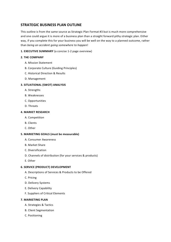 STRATEGIC BUSINESS PLAN OUTLINE This Outline Is From The Same Source As  Strategic Plan Format ...