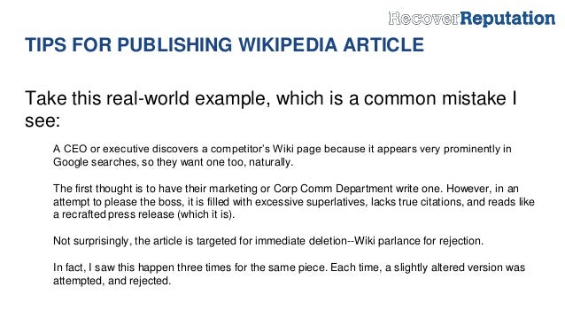 12 Tips for Publishing a Wikipedia Article to Boost Your Online Reput…