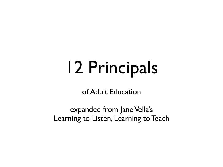 12 Principals          of Adult Education       expanded from Jane Vella's Learning to Listen, Learning to Teach