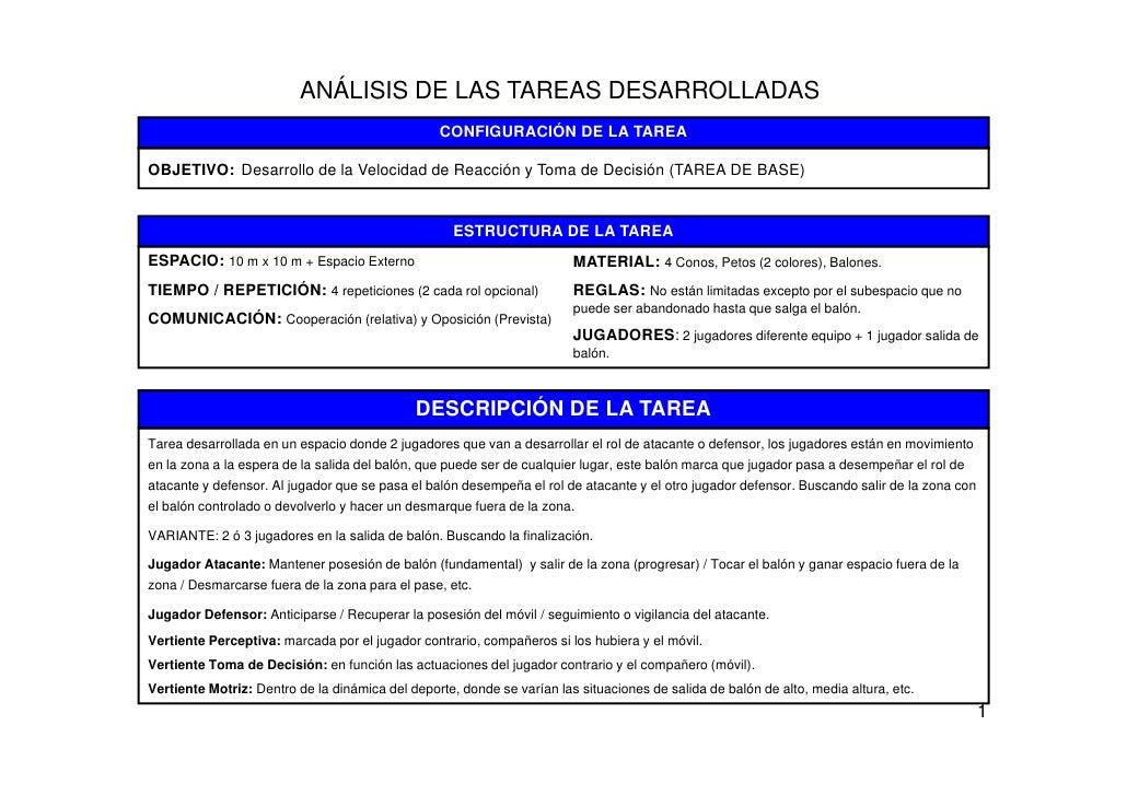 ANÁLISIS DE LAS TAREAS DESARROLLADAS                                                 CONFIGURACIÓN DE LA TAREAOBJETIVO: De...