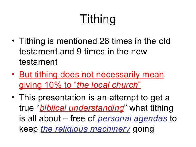 Tithing and the New Testament