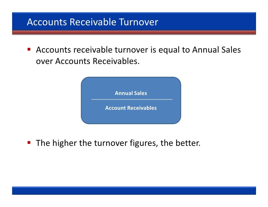 accounts receivable turnover Definition: the accounts receivable turnover ratio is an efficiency ratio that measures how often receivables are collected during a period it also calculates both the quality and liquidity of the customer account balances in other words, a/r turnover shows how many times a company can collect its average total accounts receivable during an accounting period.