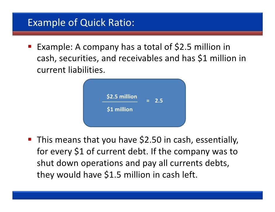 Quick ratio: meaning, interpretation and significance (with example).