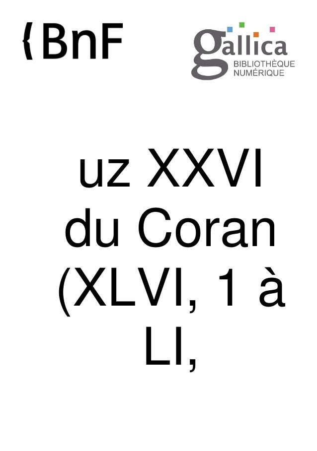 uz XXVI du Coran (XLVI, 1 à LI,