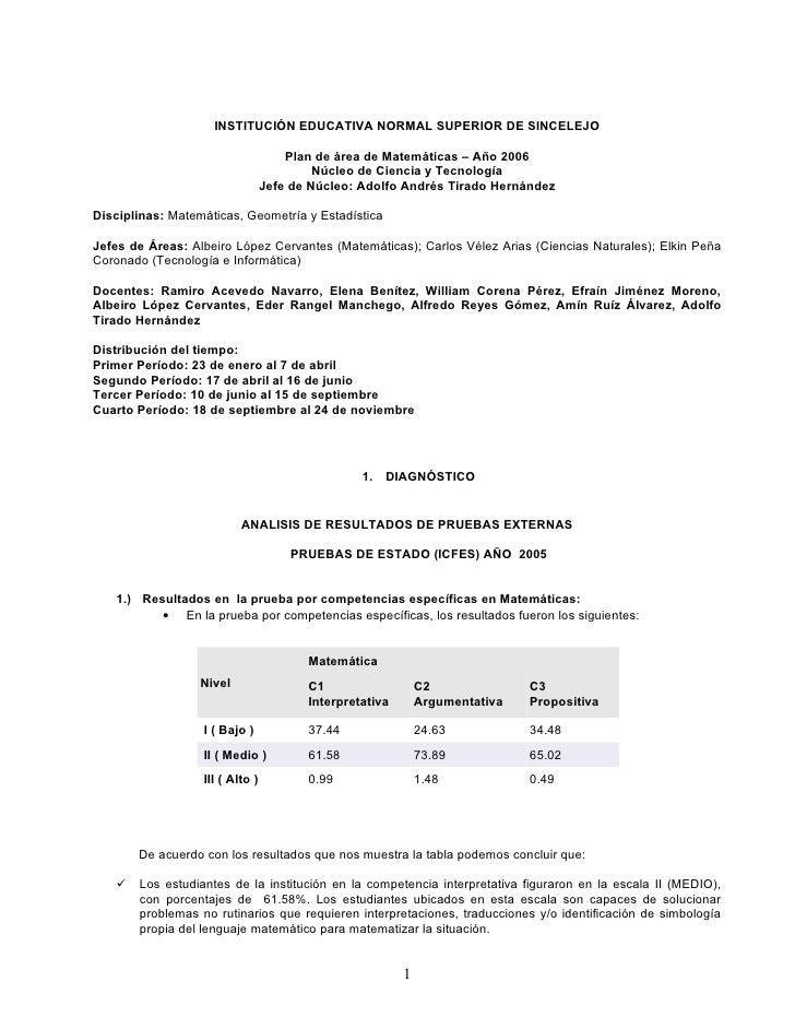 INSTITUCIÓN EDUCATIVA NORMAL SUPERIOR DE SINCELEJO                                       Plan de área de Matemáticas – Año...