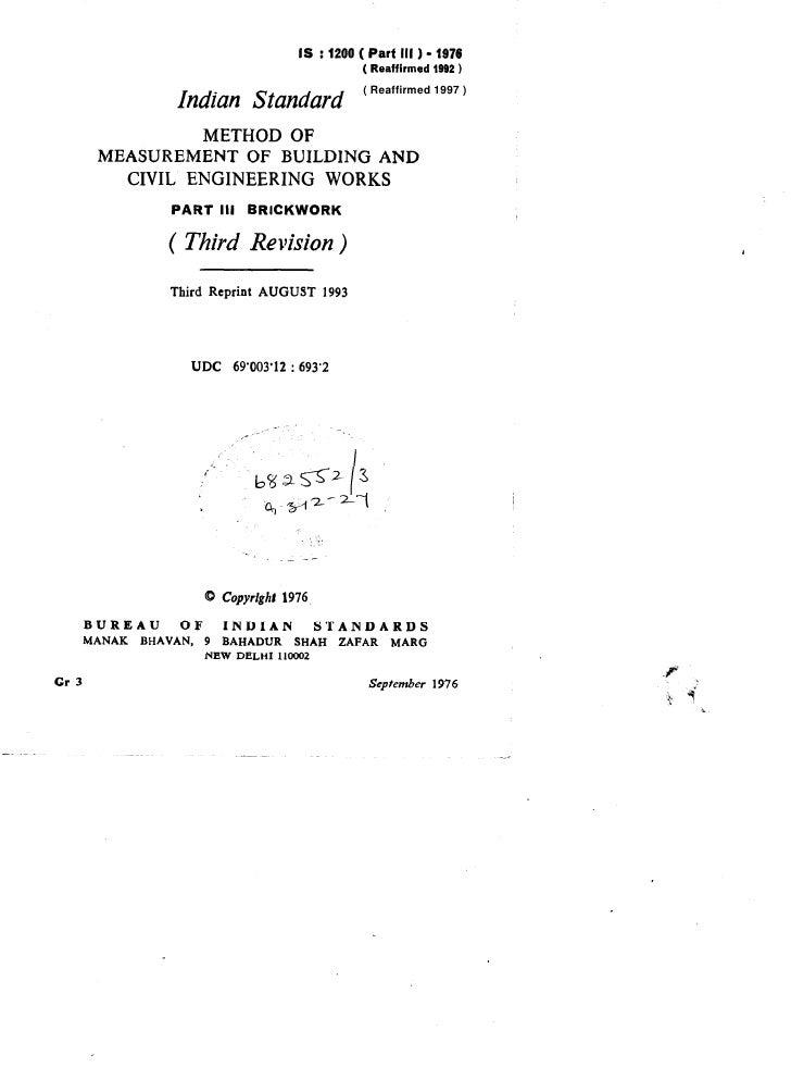 IS :1200 ( Partlll) -1976                                                                ( Reaffirmed 1992 )              ...