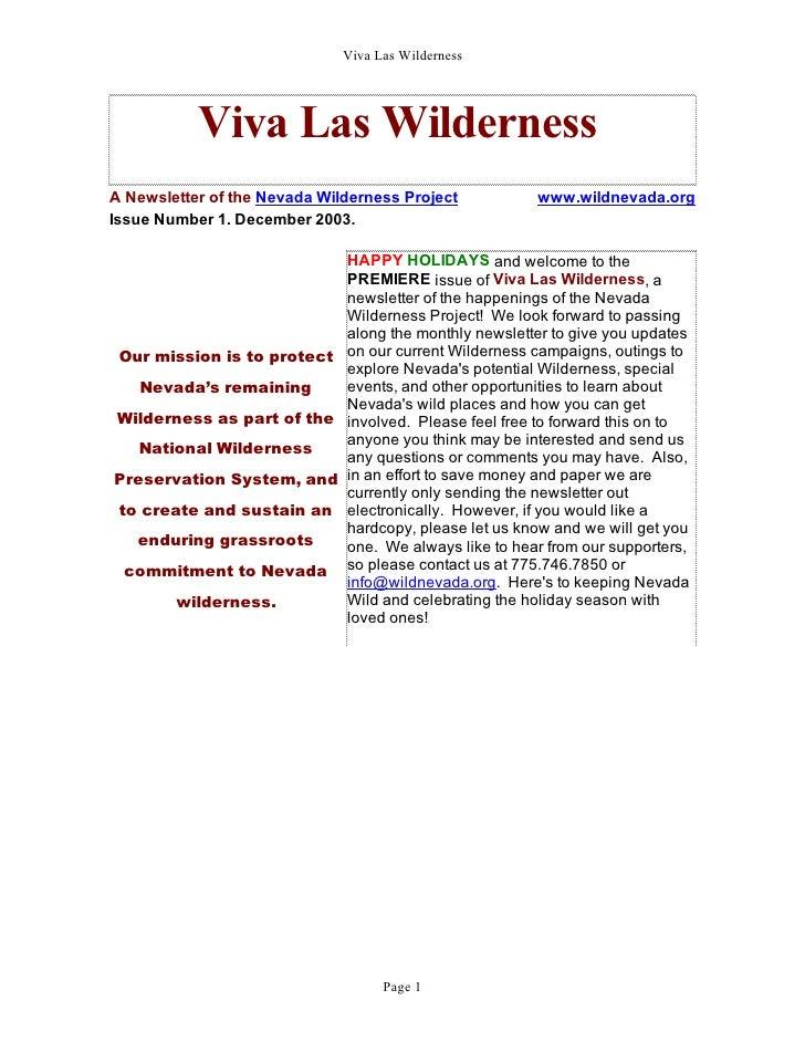 Viva Las Wilderness           Viva Las WildernessA Newsletter of the Nevada Wilderness Project           www.wildnevada.or...